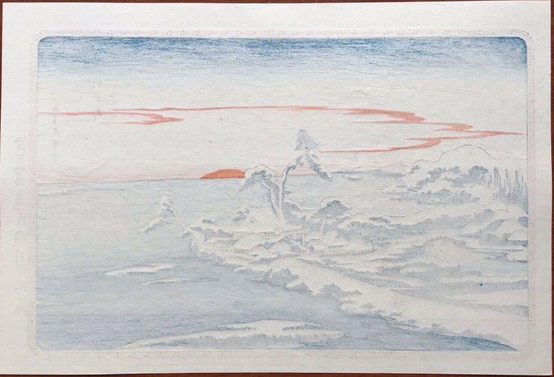 Hiroshige-Snow-morning-at-Suzaki-Toto-Edo-Famous b